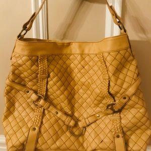 Sondra Roberts mustard colored large shoulder bag